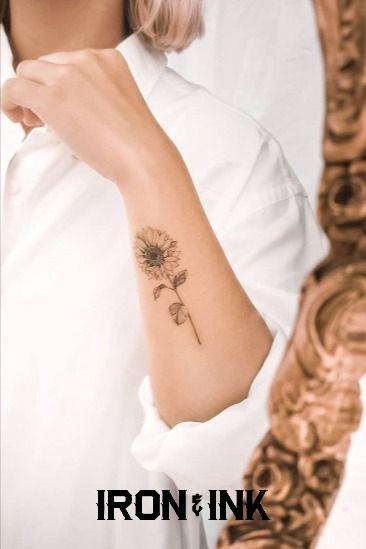 Fine line tattoo sunflower