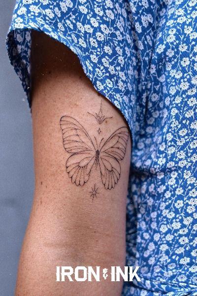 Fine line tattoo butterfly