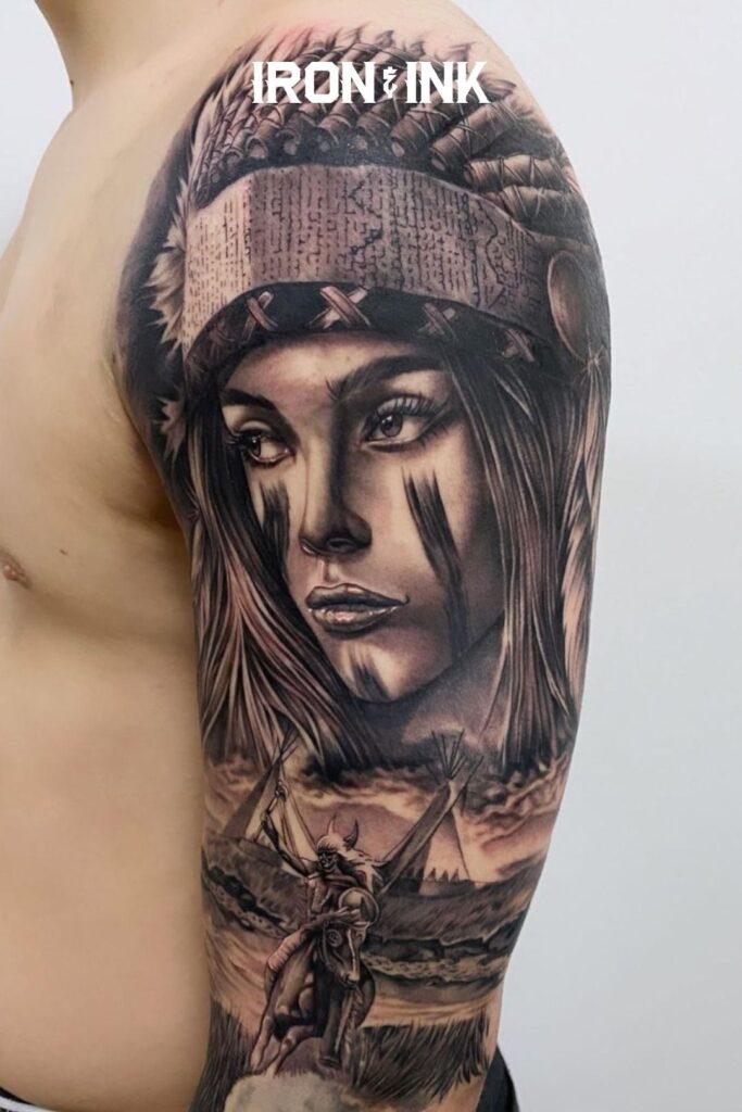 Black and grey native american tattoo sleeve