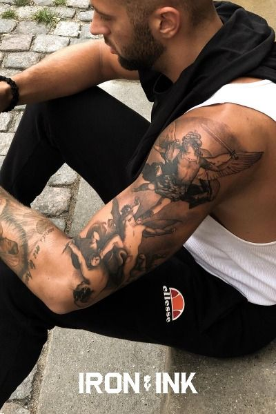 Black and grey realism angel tattoo sleeve for men