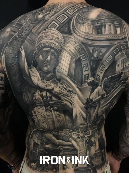 Black and grey realism back piece tattoo for men