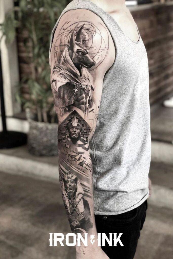 Black and grey tattoo sleeve egypt anubis