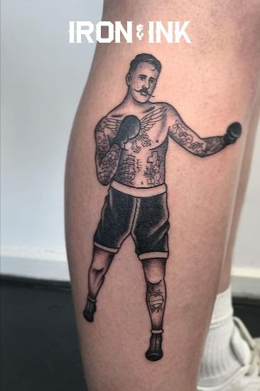 Old school boxer black and grey tattoo