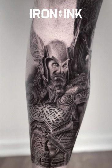 Black and grey tattoo realism viking leg