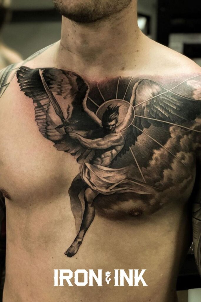 Black and grey realism angel tattoo chest piece men