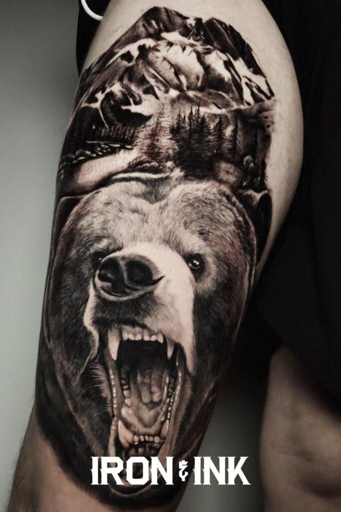 Black and grey tattoo realism bear