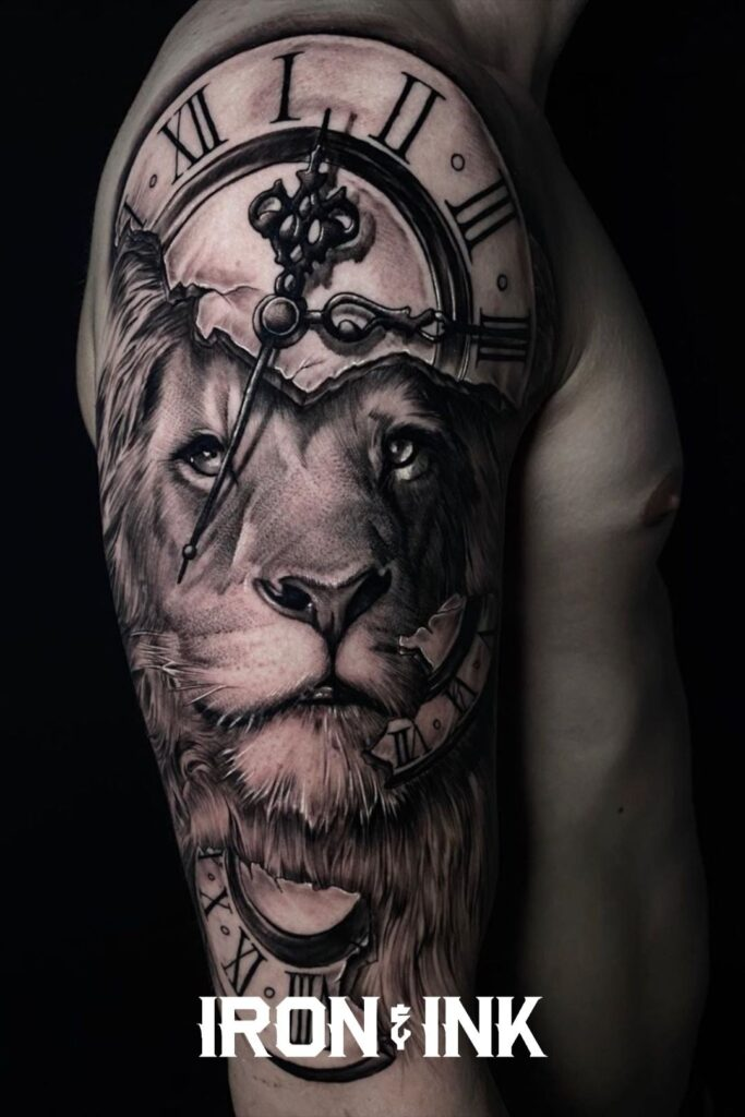 Black and grey tattoo realism lion watch sleeve men