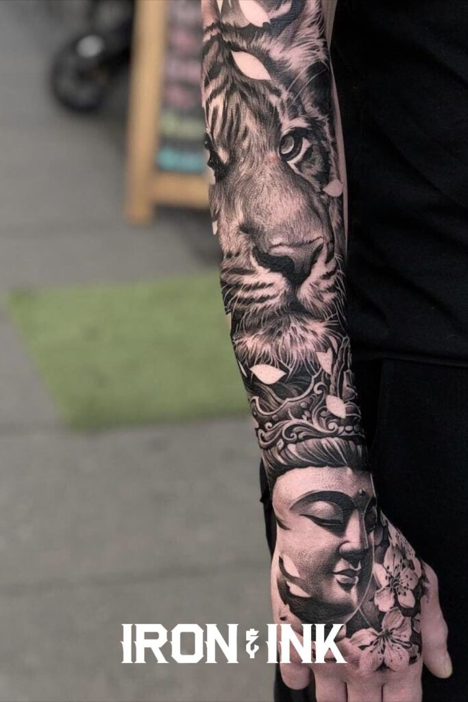 Black and grey tattoo sleeve realism tiger men