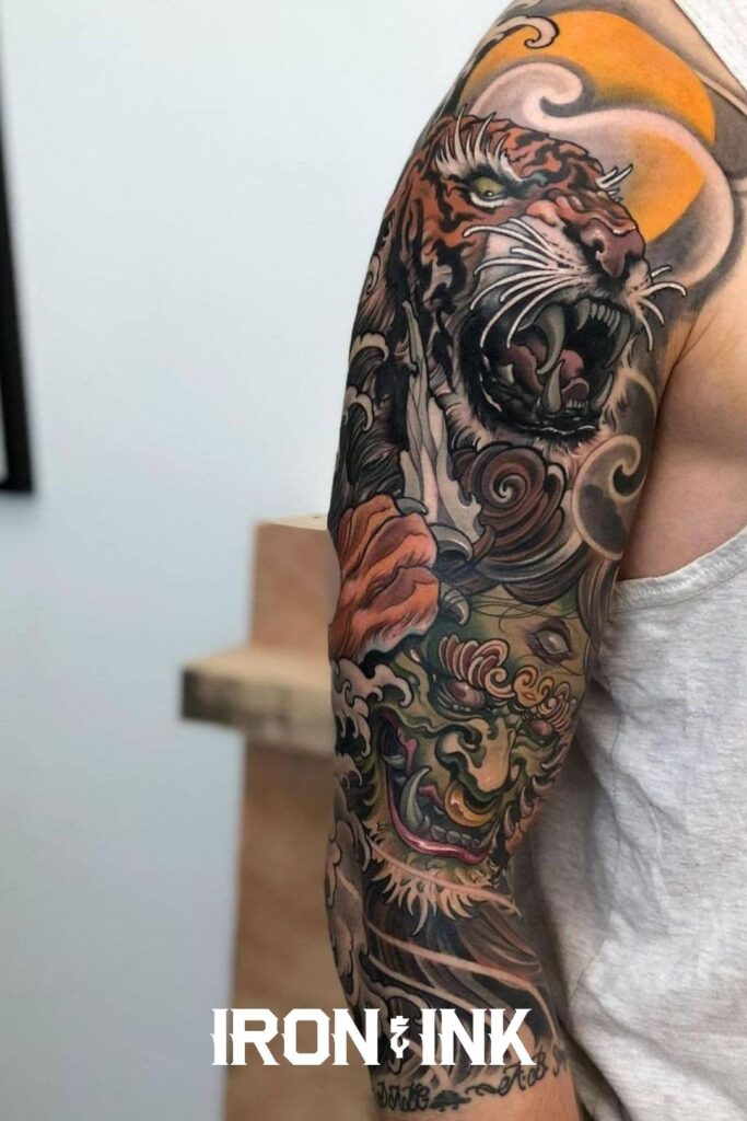 Color japanese tiger tattoo sleeve
