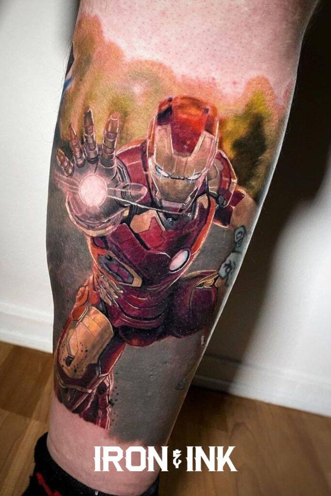 Realism Ironman tattoo leg