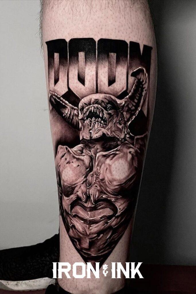 Black and grey realism doom tattoo leg