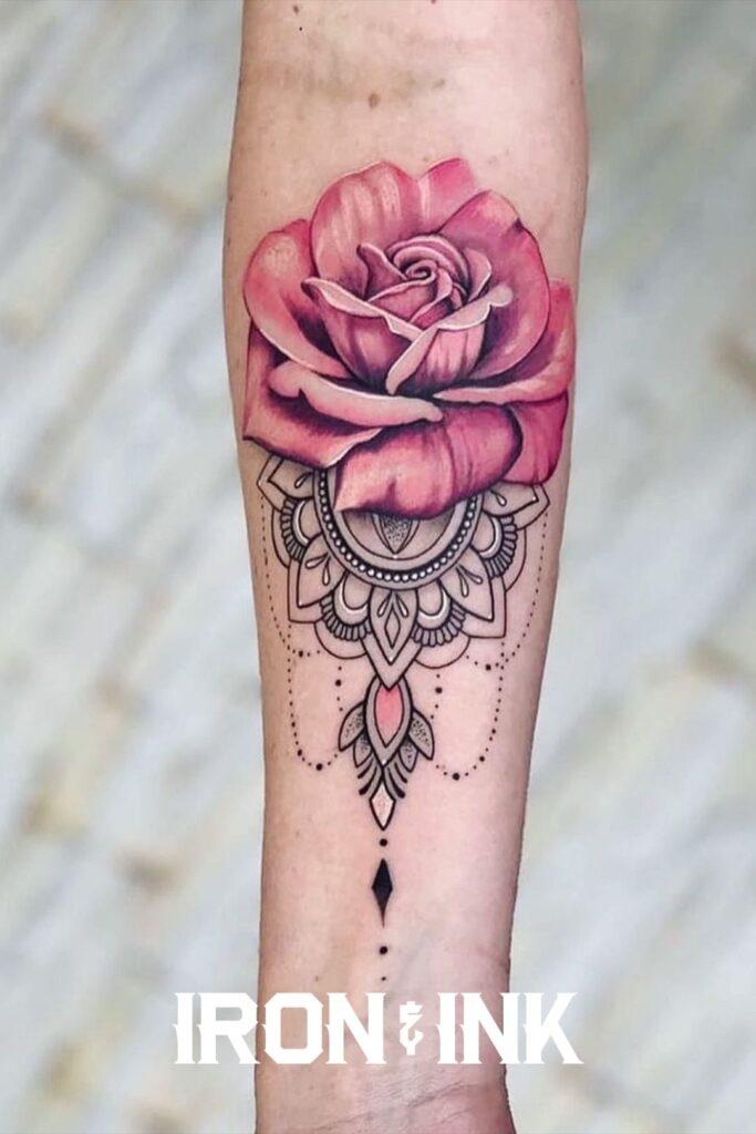 Rose tattoo woman
