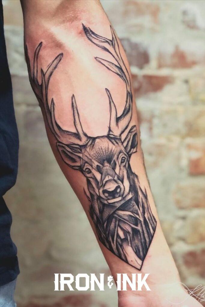 Geometric tattoo stag