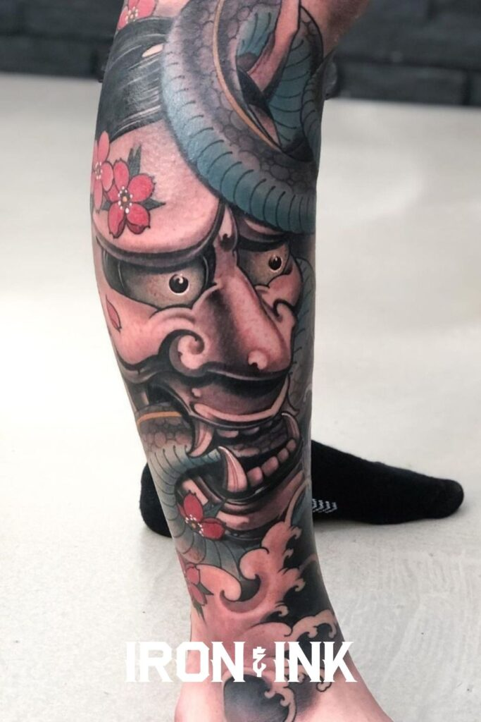 Japanese hannya mask tattoo color leg