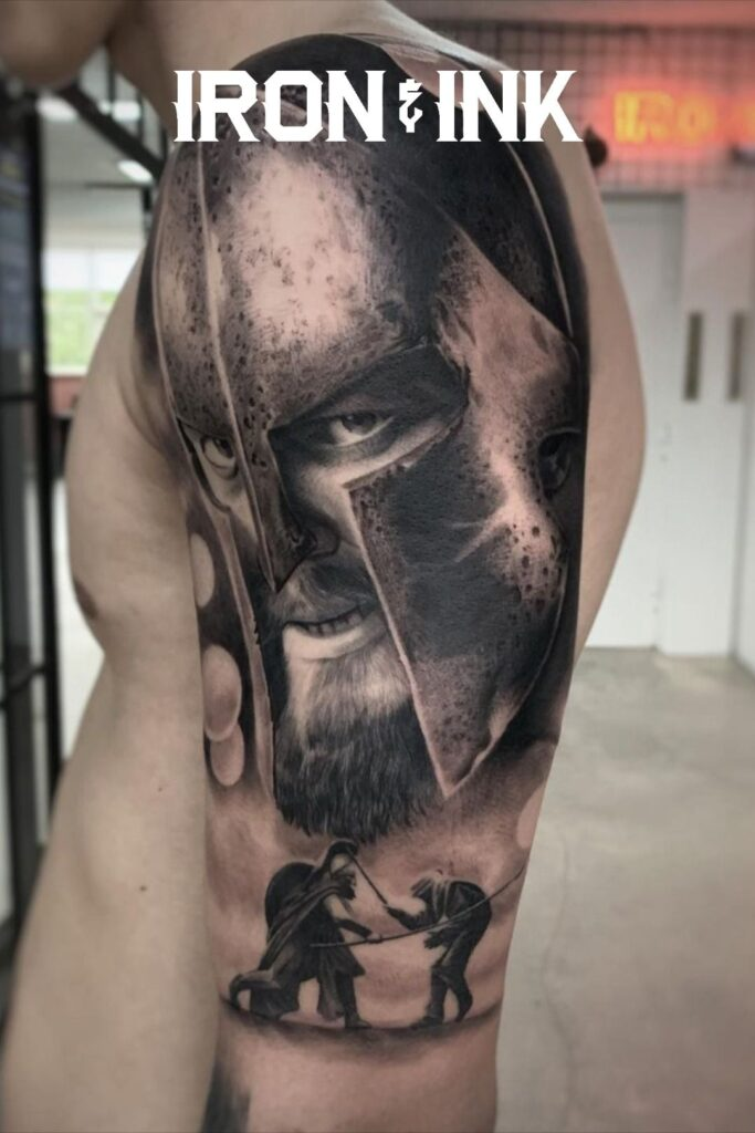 Black and grey realism gladiator tattoo sleeve