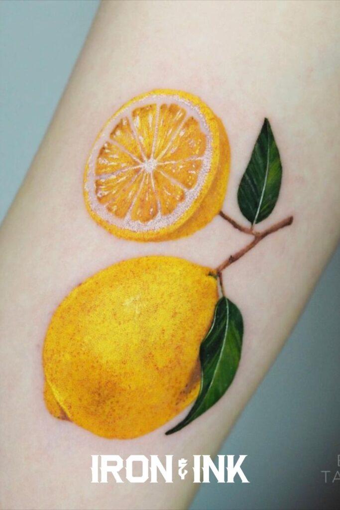 Color realism tattoo lemon