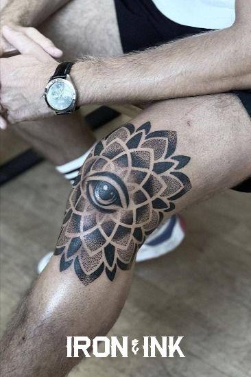 Mandala knee tattoo eye