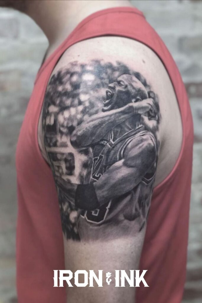 Michael Jordan tattoo black and grey realism portrait