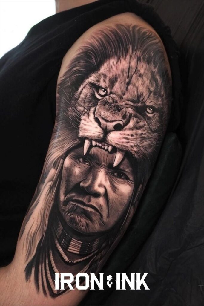 Black and grey native american tattoo with lion