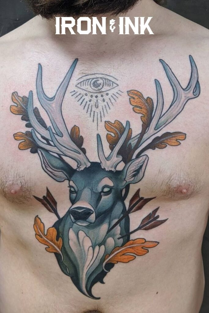 Neotraditional tattoo stag chest piece
