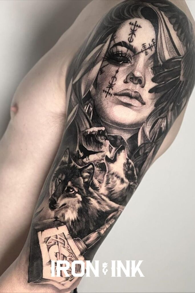 Black and grey tattoo sleeve viking nordic sleeve