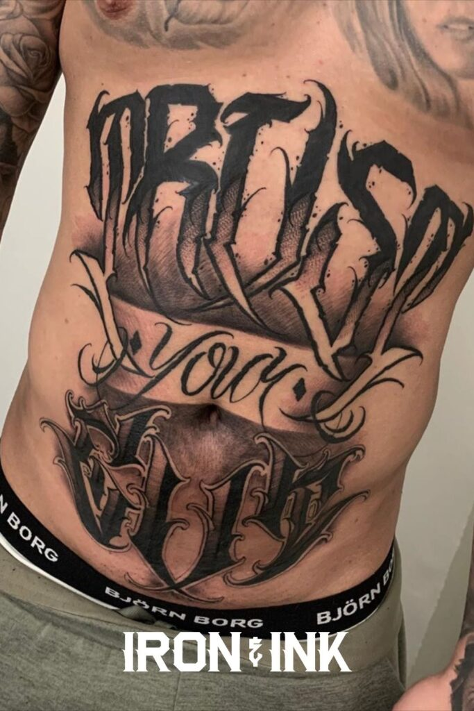 Lettering tattoo men